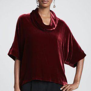 Eileen Fisher Velvet Cowl Neck Top Burgundy L